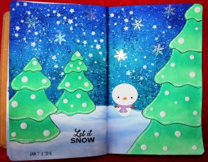 Art Journal Layout Let it Snow