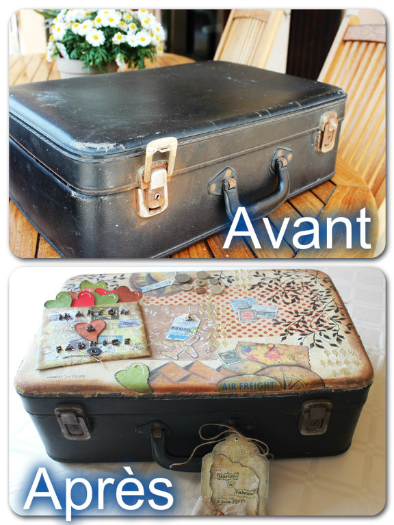diy mix media customiser une valise pour en faire une urne de mariage sandra tuet designs. Black Bedroom Furniture Sets. Home Design Ideas
